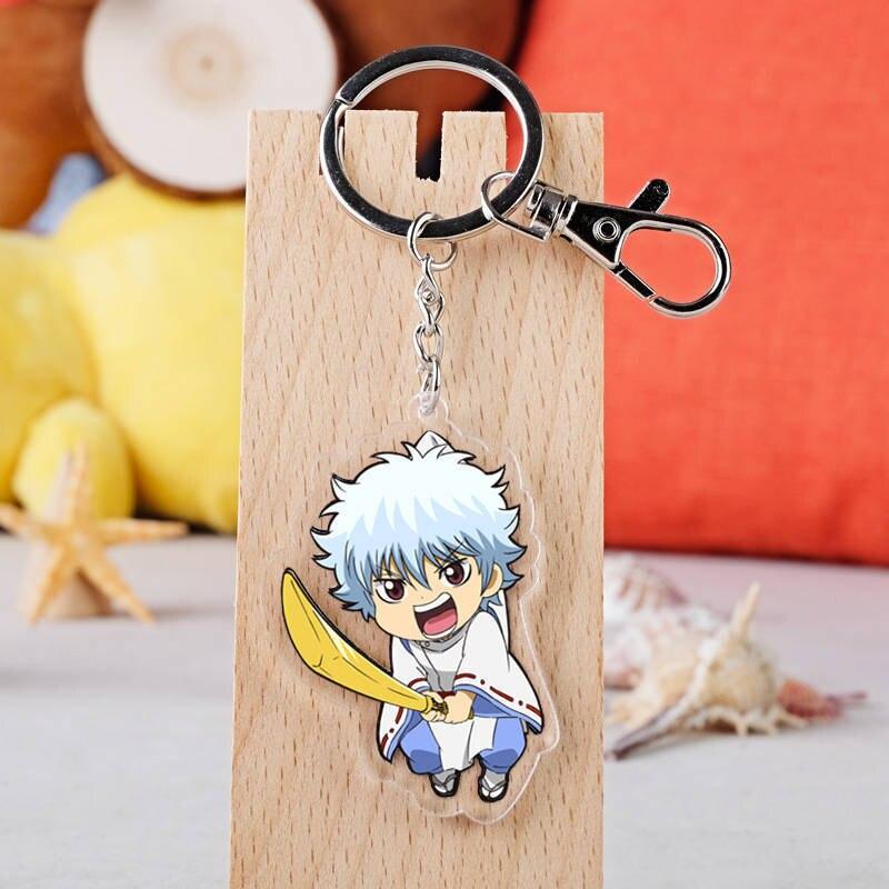 Anime Gintama Cosplay Schlüsselbund Japanischen Cartoon Gintoki Sakata Acryl Auto Schlüssel Halter Kette Anhänger Schlüsselanhänger Schmuck