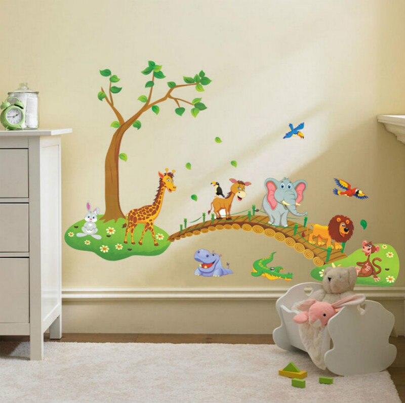 DIY Большие Животные Дерево мост наклейки на стену дети питомник Декор настенная художественная наклейка