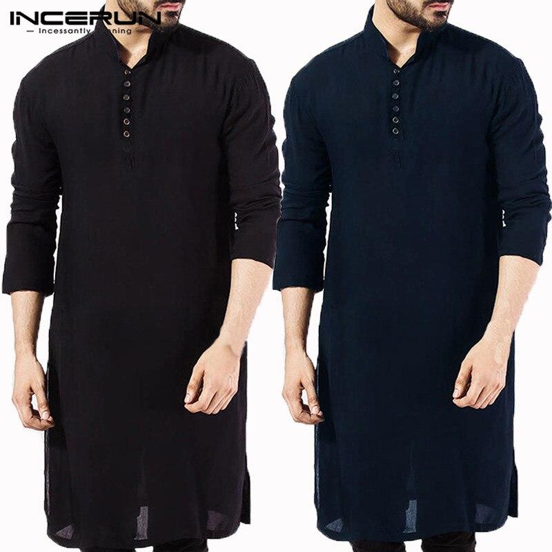 Nouveau 2019 hommes Kurta chemises à manches longues Kurta Robe Chemise islamique élégant caftan Robe pakistanais homme indien vêtements musulman Aaudi