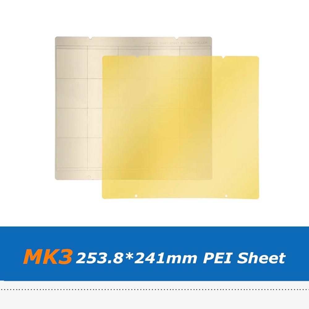 2pcs 253.8*241mm MK3 PEI Sheet Hotbed Sticker For Reprap Prusa i3 Mk3 Mk2.5 MK52 3D Printer Spring Steel Plate