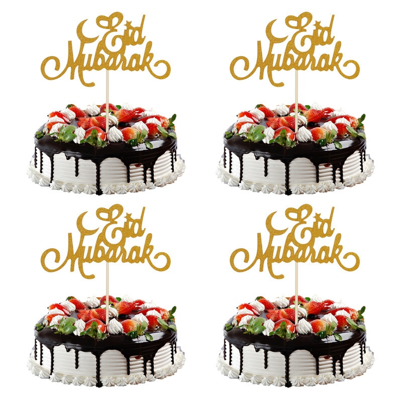 2019 5 uds torta Toppers Eid Mubarak decoración boda Baby Shower cumpleaños fiesta Ramadán Oro Negro Cupcake Topper musulmán hornear