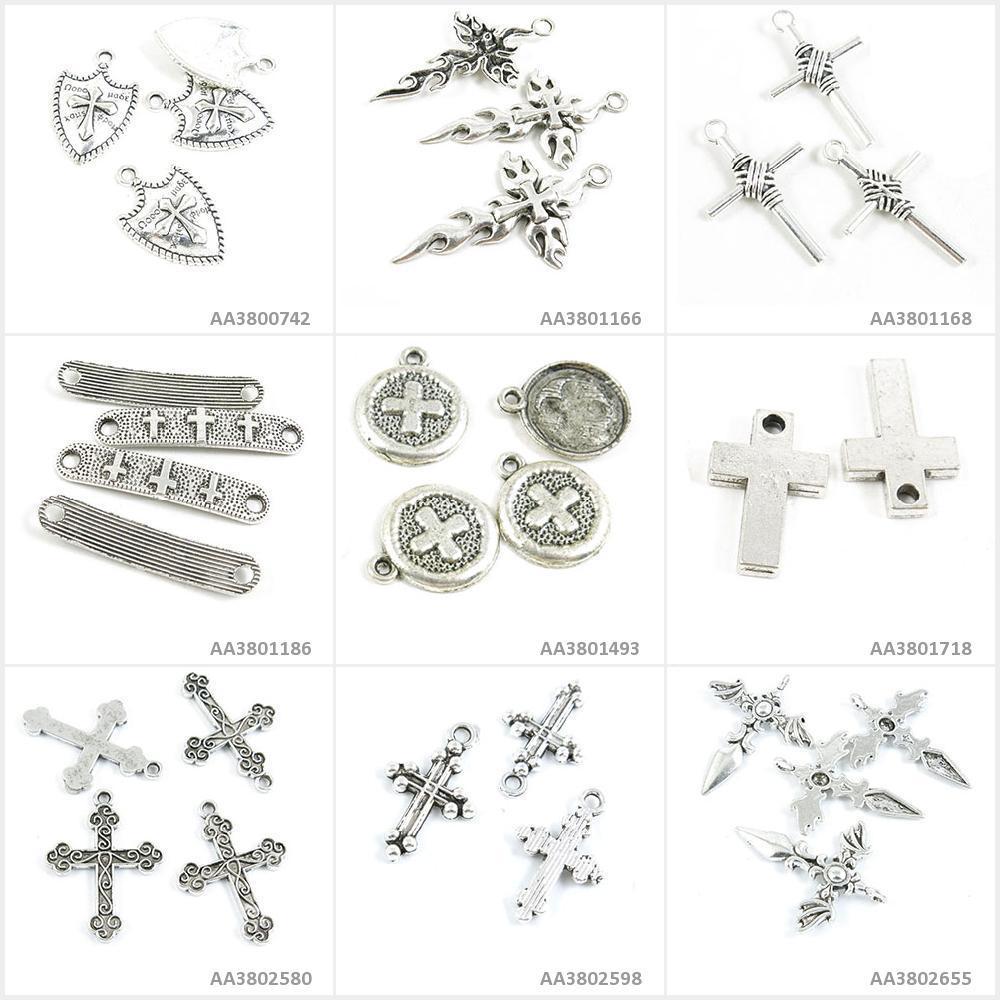 Dijes de joyería de tono plateado antiguo, colgante de pulsera con Ángel, espada, cruz latina, signos, conector, escudo romano de fuego, abalorios artesanales