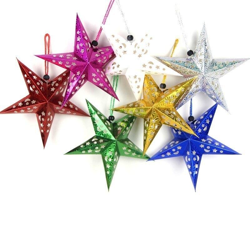 1pc 7 colores hueco láser Navidad farol de papel de estrella decoración de Feliz Año Nuevo Feliz Navidad ornamento colgante de Navidad de decoración de árbol para el hogar