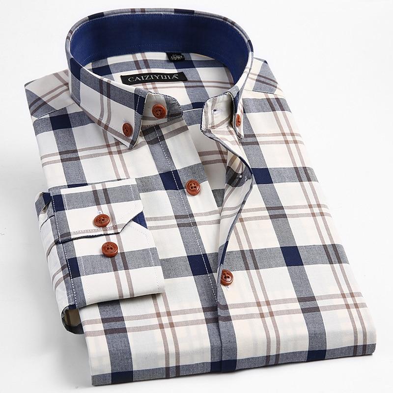 100% Cotton Long Sleeve Mens Plaid Dress Shirt Smart Casual  Male Tops Slim Fit Button Down Shirts Pocketless