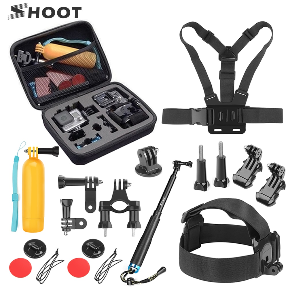 SHOOT Action Camera Accessories Set for GoPro Hero 9 8 7 6 5 4 Session Xiaomi Yi 4K Sjcam Sj4000 Chest Head Strap Mount Kits shoot fetch dog harness chest strap for gopro hero 9 8 7 5 session sjcam sj4000 m20 xiaomi yi 4k h9r dji action camera accessory