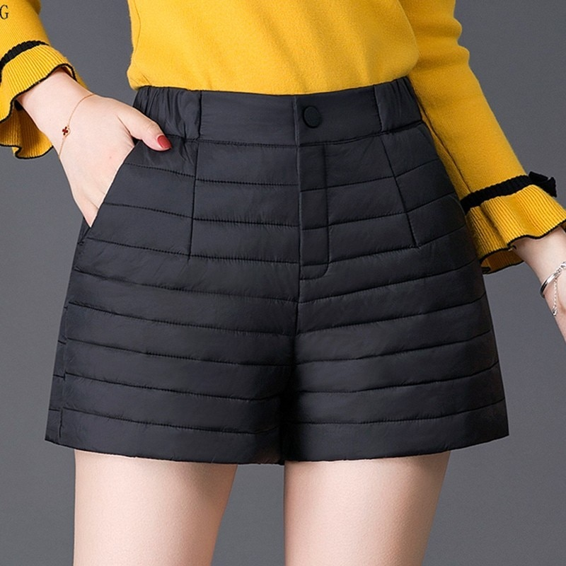 Winter Fashion Down Women Shorts Thick Warm High Waist Feather Shorts Black Plus Size Shorts Winter Match Stockings Artifact 254