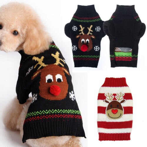 Nueva caliente mascota perro gato punto puente invierno cálido suéter cachorro abrigo chaqueta ropa linda