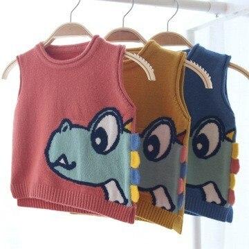Chaleco de bebé pequeño patrón de dibujos animados de punto niñas niños Chaleco de moda sin mangas suéter Infante Fahion Pullover niños ropa