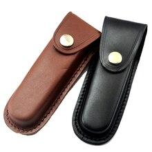 Navaja plegable de primera capa de cuero de vaca, funda de cuchillo recta, funda de cuchillo con funda en negro/marrón