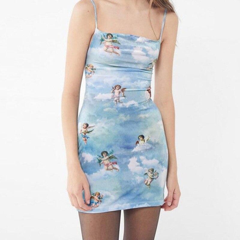 2019 vestido Sexy para mujer Cupido bodycon estampado Mini vestido vendaje sin mangas espalda descubierta Clubwear señoras traje de moda de dibujos animados nuevo