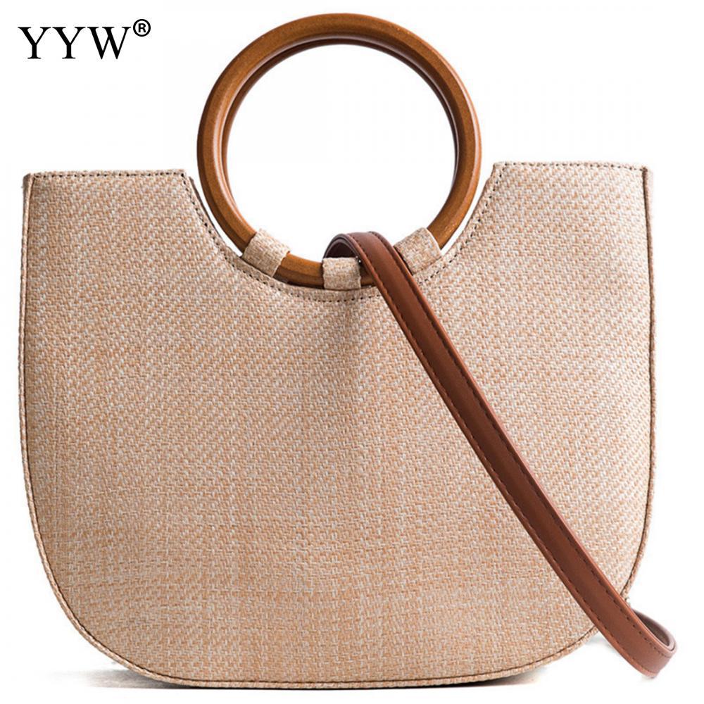 YYW Boho bolso de playa para mujer, bolso de hombro de gran capacidad, bolso de mano con asa redonda, Casual caqui blanco, bolsos cruzados para mujer