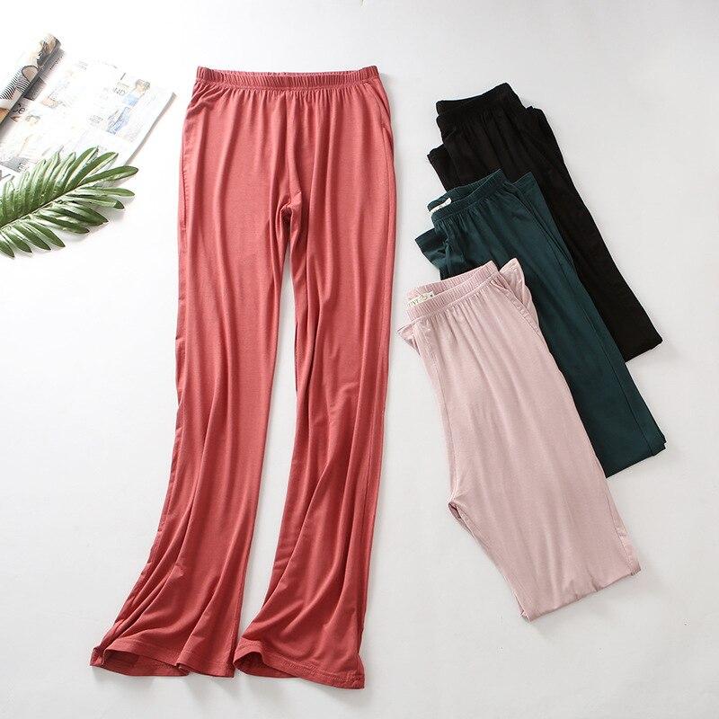Desgaste salão calças de Pijama de algodão para as mulheres Estilo Casual Calças Casa Cor Sólida Salão Desgaste Camfortable mulheres desgaste casa sleepwear