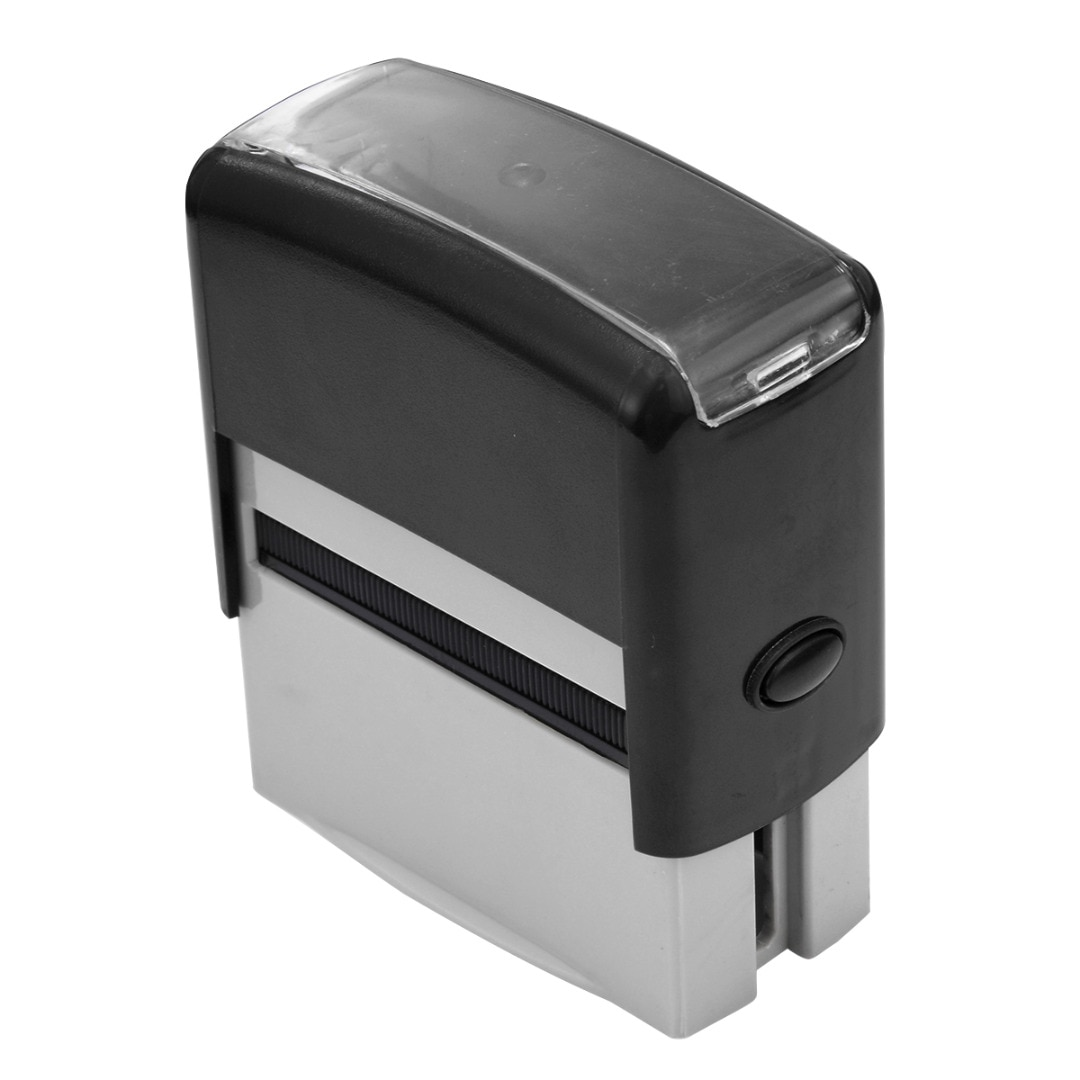 Sello de goma personalizado con tinta automática, sello personalizado con pinzas + Placa de palabra + cartucho, Kit de dirección de nombre de negocio DIY