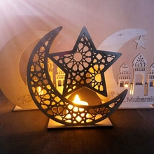 Ramazan Ahşap Eid Mubarak Dekorasyon Ev Için Ay İslam Camii Müslüman Ahşap Plak Asılı Kolye Festivali Parti Malzemeleri