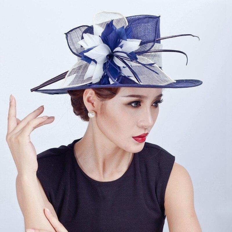 النساء شيك Fascinator قبعة كوكتيل حزب فيدورا قبعة الأزياء أغطية الرأس العروس الزفاف إكسسوارات الشعر سيدة الكنيسة سيناماي القبعات