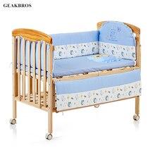 5Pcs/set Cotton Crib Bed Bumper Baby Cot Bedding Set Newborn Safty Detachable Cot Bed Linen Cartoon Junior Bed Sleep Bumper