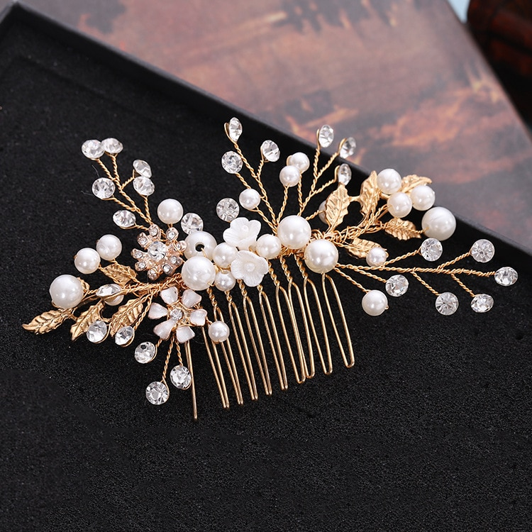 Novos produtos estilo coreano folhas douradas conchas pérolas flores pentes de cabelo acessórios de noiva por atacado