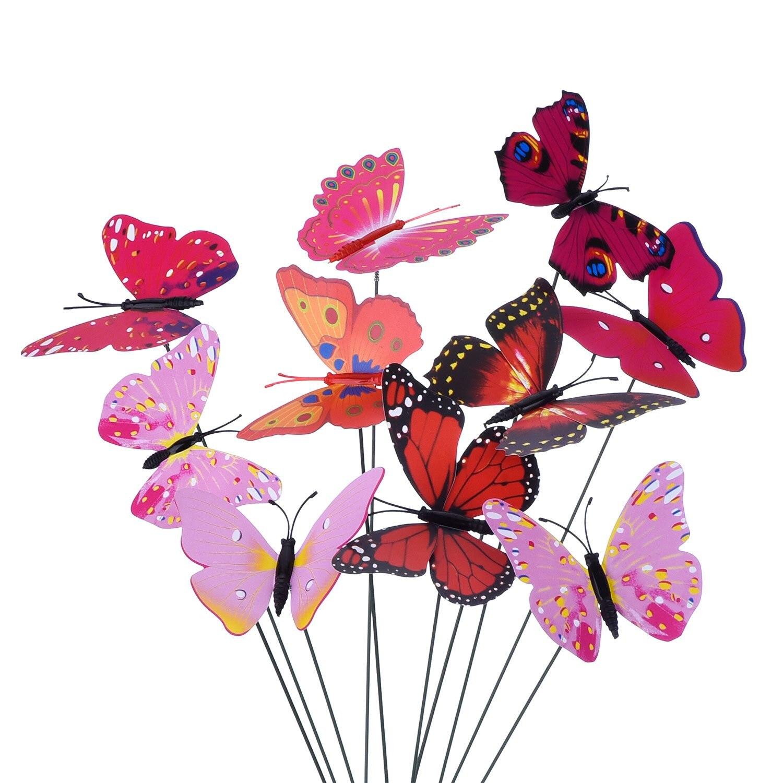 Nuevas 20 piezas de estacas de mariposas de jardín y 4 piezas de estacas de libélulas adornos de jardín para decoraciones de fiesta de Patio