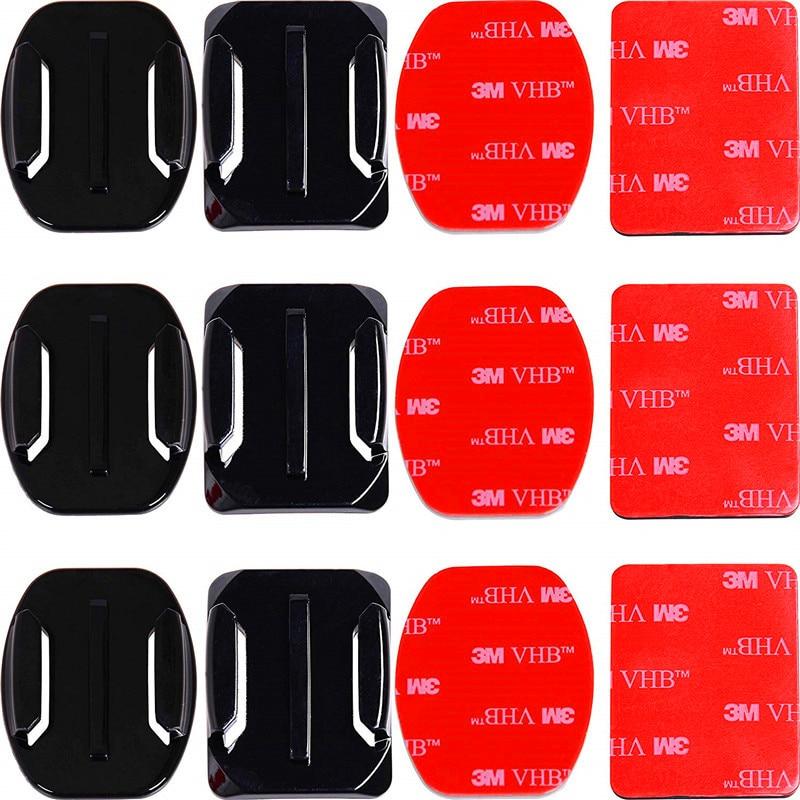 Soportes adhesivos para GoPro 8 7 6 5 4 soportes planos curvos 3M almohadillas adhesivas para Go Pro Xiaomi Yi SJCAM casco para Cámara de Acción tablero Coche