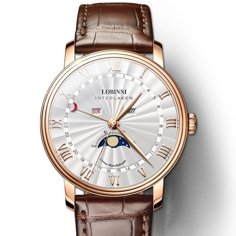 LOBINNI мужские часы швейцарские роскошные Брендовые Часы мужские сапфировые водонепроницаемые Moon Phase reloj hombre Japan Miyota Move Мужские t L3603M