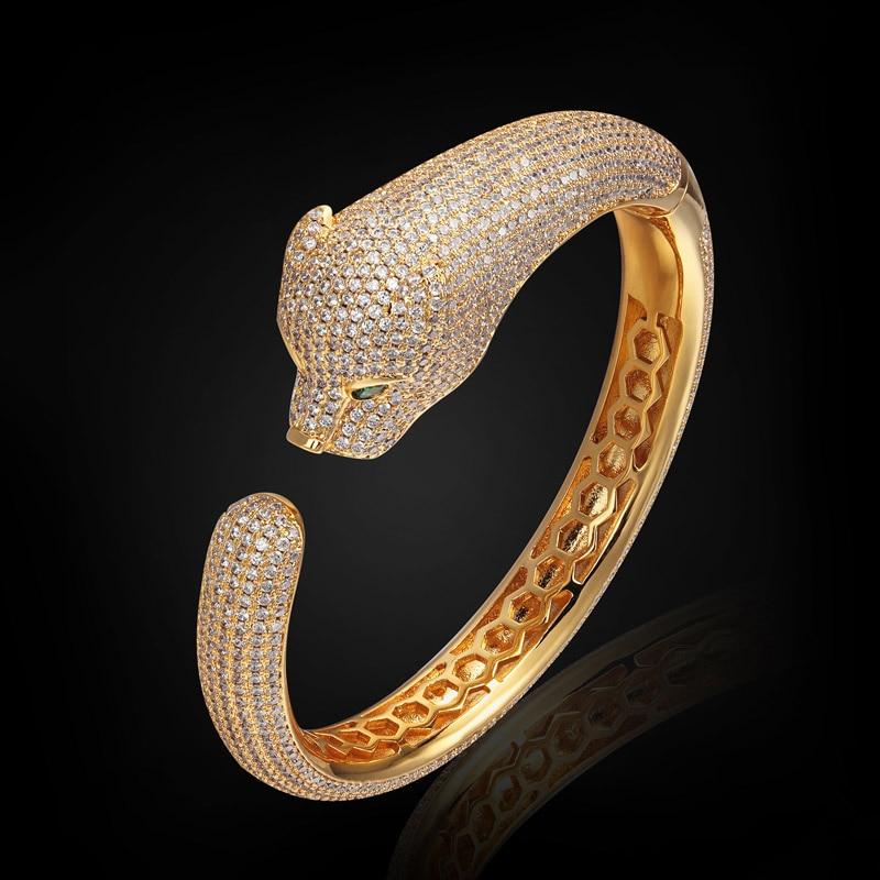 blucome Men's Bangle Statement leopard Bangles Brand Men Jewelry Zircon Bangles & Bracelet For Women Pulseira Feminina Pulseira
