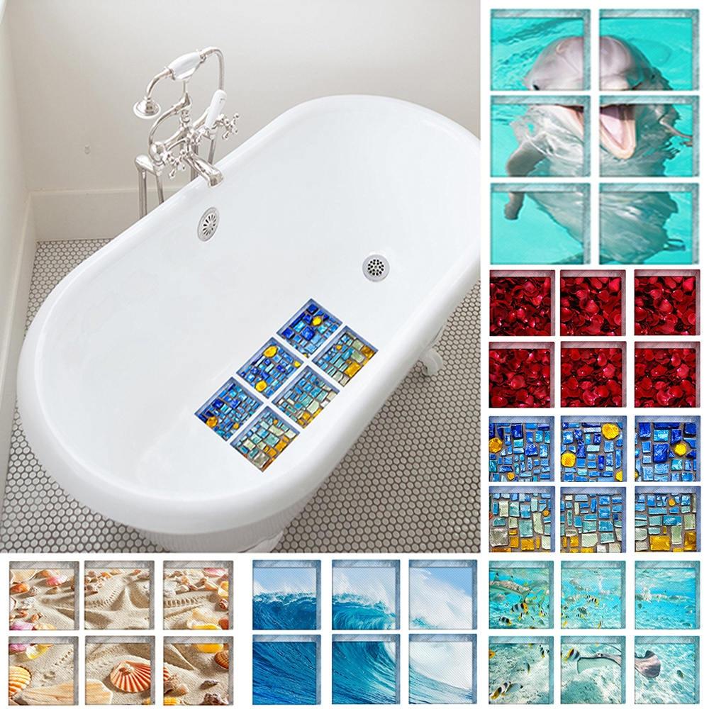 6pcs/set 3D Bathtub Stickers Non Slip Waterproof Bathroom Decor Self-Adhesive Bath Wall Sticker Colorful Stones 15x15cm