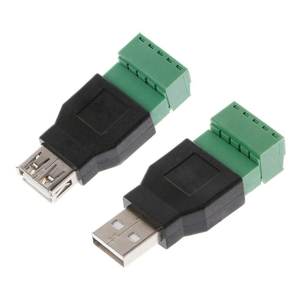 Clavite 5 pines USB macho hembra a tornillo conector Jack Terminal para tira de luz LED