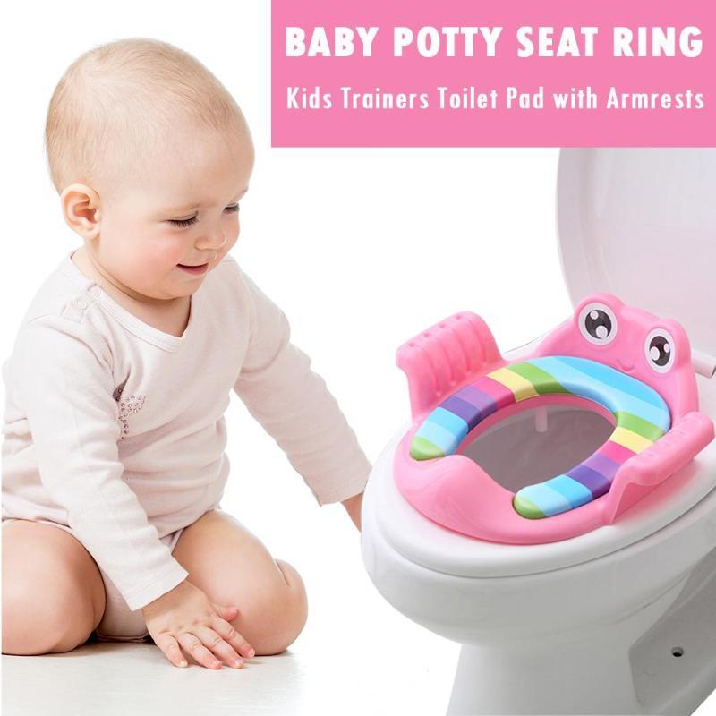 Asiento de inodoro de seguridad para bebé con reposabrazos, inodoro cómodo para niños y niñas, orinal de dibujos animados para niños, orinal de entrenamiento