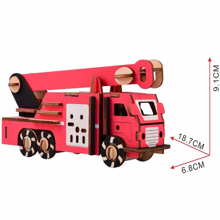 Rompecabezas de madera de corte láser 3D, vehículo de rompecabezas, camión de lucha contra incendios, montaje DIY para niños, Juguetes Educativos de madera para niños
