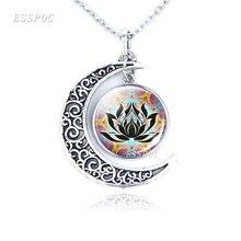 Chakra Symbols Crescent Pendant Necklace Buddhism Sign Necklace Glass Cabochon Om India Yoga Mandala Jewelry For Women Men Gift