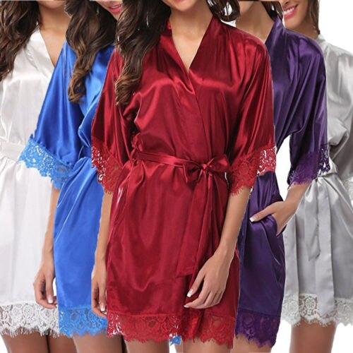Thefound vestido feminino noite cetim, roupão, camisola, manga de halt, pijama, lingerie, vestido para noite, renda, sexy, roupa de dormir