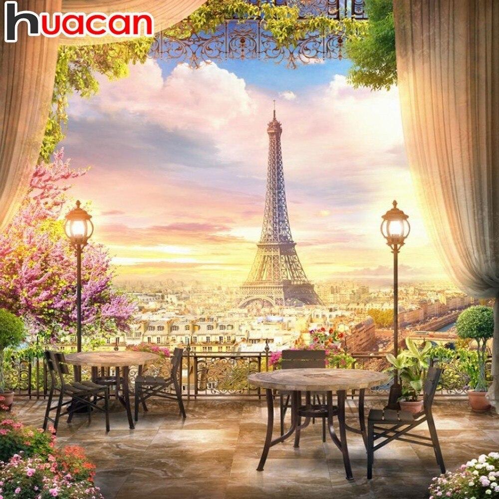 Pintura HUACAN Com Diamantes Torre Eiffel 5D Pintura Diamante Paisagem Imagem De Strass Mosaico Flores de Decoração Para Casa