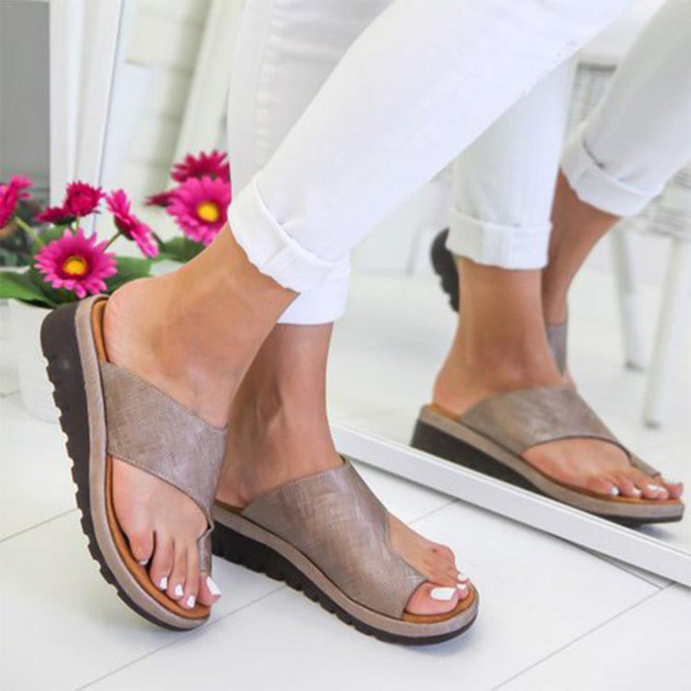 Cuero de la PU zapatos cómodos zapatos de suela plana Casual suave dedo pie corrección ortopédicos sándalo corrector de hallux valgus
