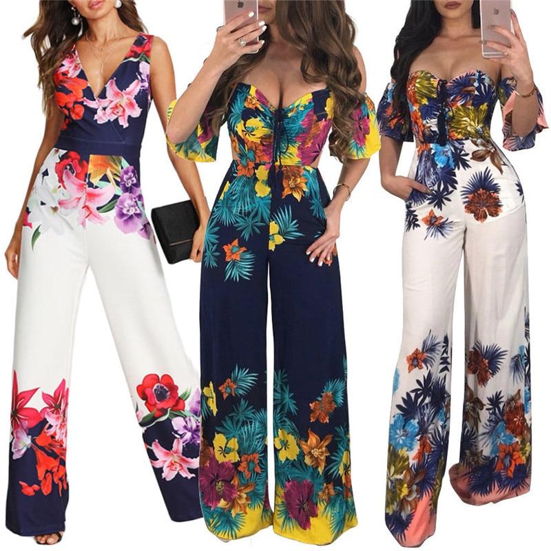Mono 2019 con estampado Floral para mujer, Pantalones anchos de pierna para mujer, mono Bodycon sin hombros para vacaciones, mono Sexy con cuello en V, ropa para discoteca