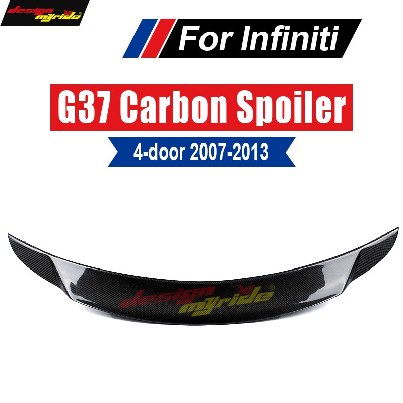 For Infiniti G37 Rear Spoiler Rear Trunk Tail wing Lid Carbon fiber For G37 4-Door Sedan Rear Trunk Spoiler Wing Lip 2007-2013