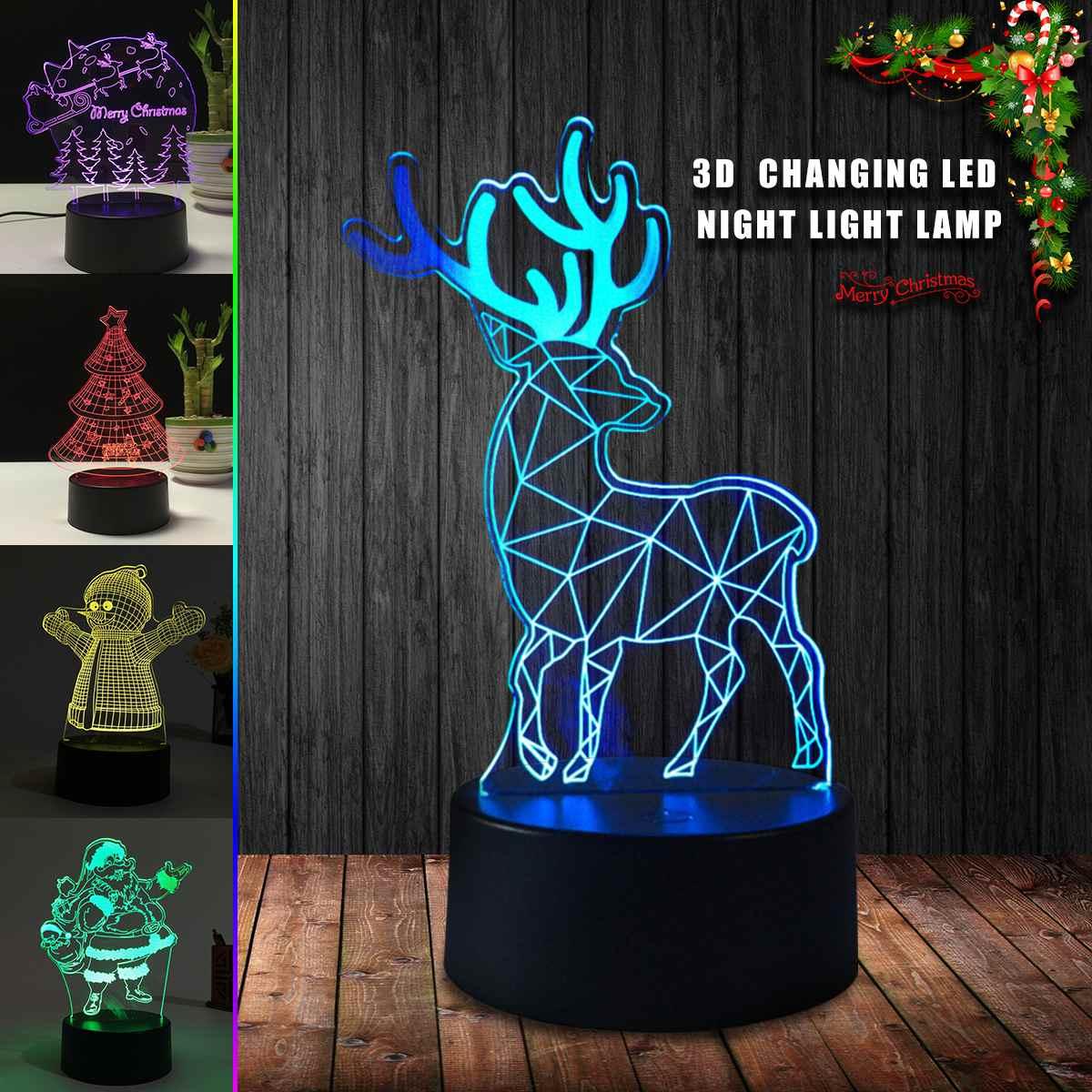 3D Night Light Color Change Merry Christmas Deer Tree Snowman USB Acrylic Night Light Panel LED Desk Creatives Gift Lamp