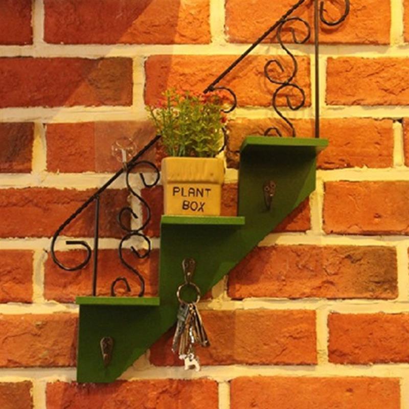 Organizador para el hogar, decoración, diseño de escalera, soporte de almacenamiento, artesanía de hierro, montaje en pared, organizador de plantas, estante de exhibición, estante flotante, almacenamiento de llaves