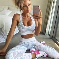 sexy women gym yoga suit clothing brapants 2 piece camouflage mesh patchwork fitness female set sport outfit mujer jumpsuit