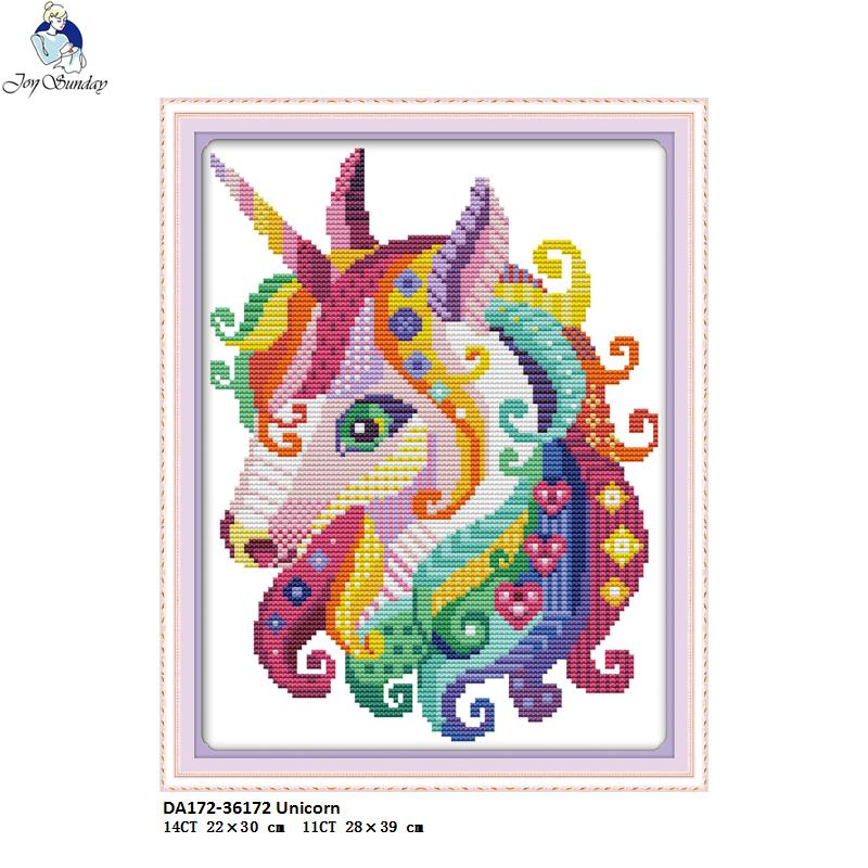 Joy Sunday The Unicorn Cross-stitch kits, DIY Handmade Cross Stitch, DMC Needlework suit, Enough Canvas for Embroidery