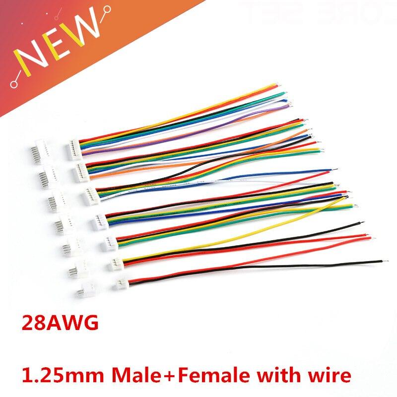 Connecteur PCB mâle et femelle   10 jeux, 1.25 JST 2/3/4/5/6/7/8/9/10 broche simple tête, avec connecteurs de fil électronique 100mm