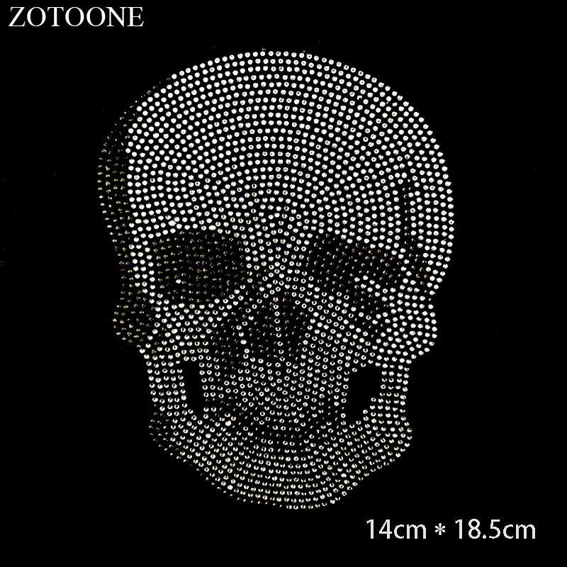 ZOTOONE Clear Crystals HotFix Flatback Rhinestones Punk Skull Applique Strass Rhinestone Stickers for Clothes Decoration E