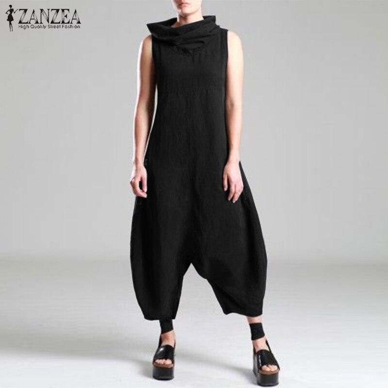 ZANZEA Fashion Women Turtleneck Sleeveless Jumpsuits Summer Ladies Drop Crotch Rompers Solid Overalls Cotton Linen Harem Pants