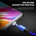 Магнитный кабель USLION 3A Micro USB Type-C, светодиодный магнитный кабель для быстрой зарядки для Samsung, Xiaomi, Huawei, oneplus, 6t, iPhone X, XR