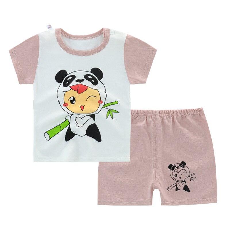Летняя одежда для маленьких девочек, хлопковая детская одежда с рисунком панды, комплекты детской одежды, футболка, 2020