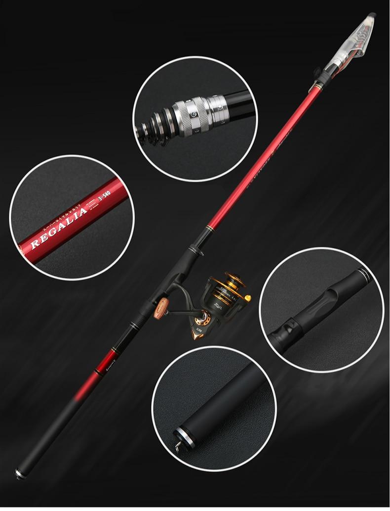 High Carbon Super Hard Rock Fishing Rod Positioned Red Dual-purpose Fishing Rod Sea Pole Telescopic Fishing Rod Fishing Reel Set enlarge