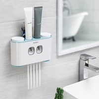 ecoco toothbrush holder wall mount toothpaste dispenser with 4 cups toothbrush holder bathroom storage rack bathroom accessories