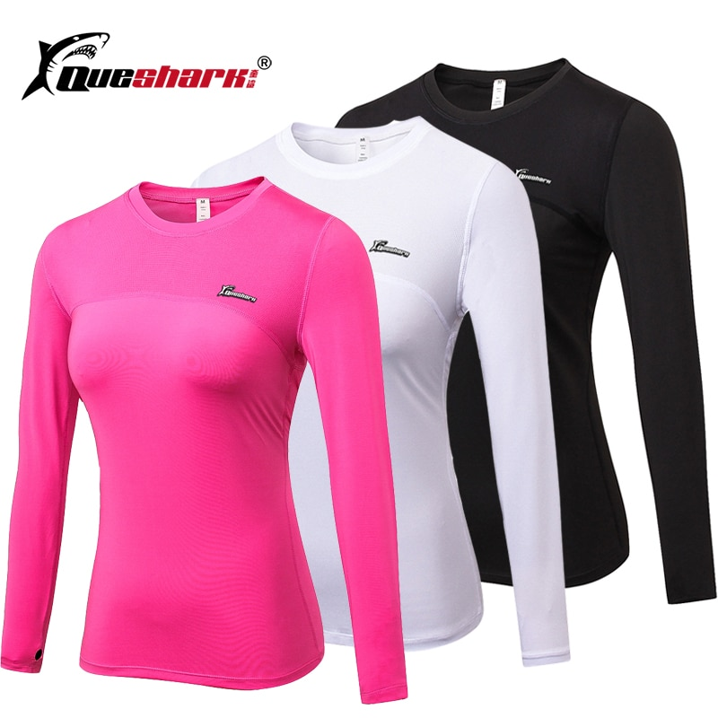 Queshark ginásio elástico yoga camisas de manga longa feminino malha fina correndo jaqueta esportiva secagem rápida preto fitness sweatshirts
