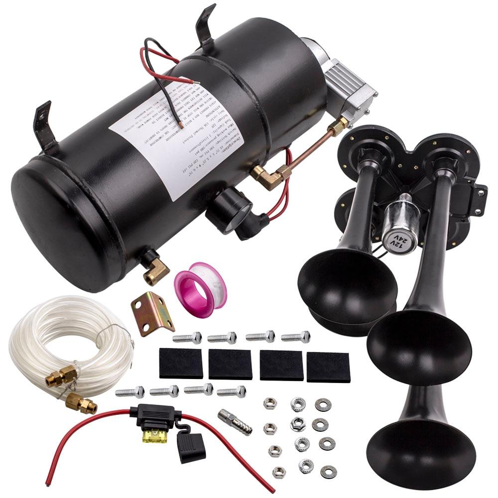 4-trompeta tren cuerno de aire Kit de 150 PSI 150db sistema de aire con 3L 12V compresor de aire
