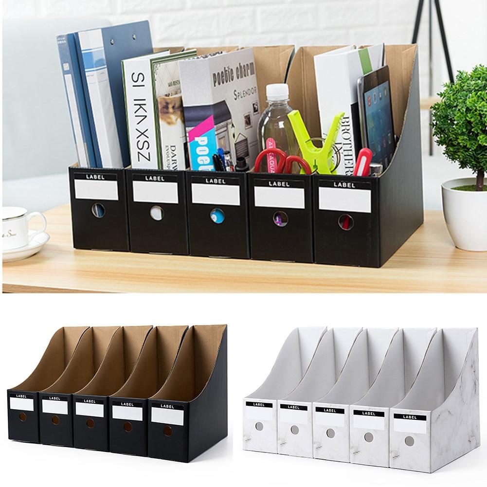 5 pçs/set Rack Titular Arquivo Escolar Dobrável Caixa de Armazenamento Organizador da Mesa De Escritório Papelaria Revista de Papel Kraft Simples Documento