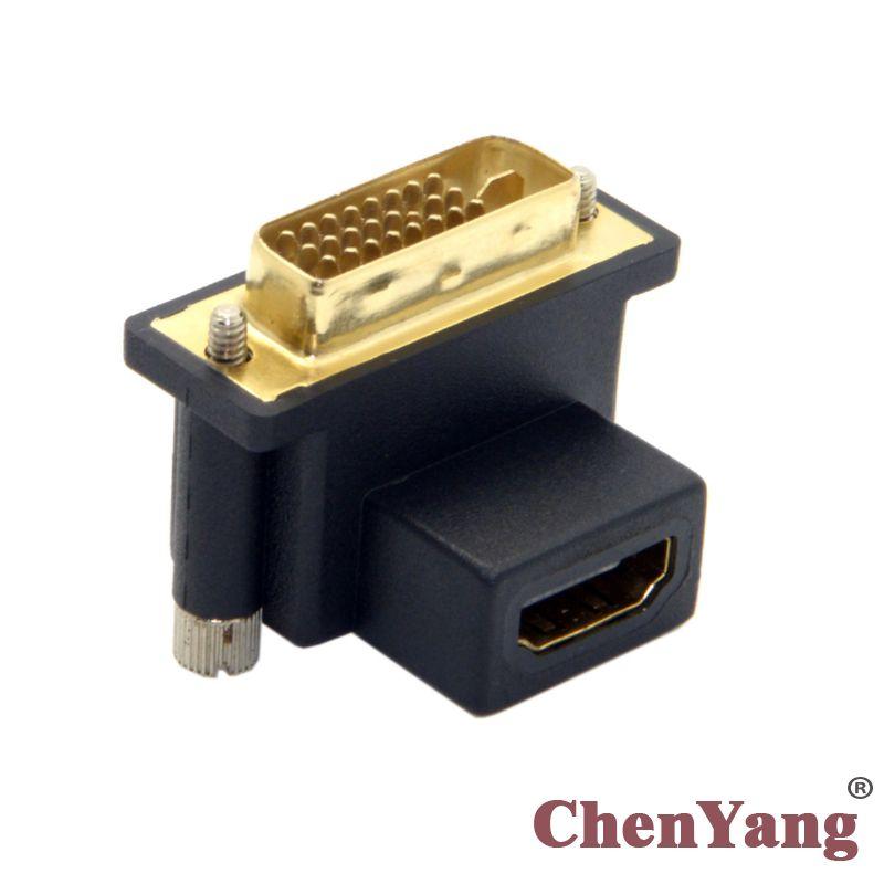 Adaptador hembra CY Chenyang DVI macho en ángulo de 90 grados a HDMI para ordenador y HDTV y tarjeta gráfica